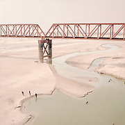 Every year, during the dry season, the river on the Bangladesh border dries up due to the Farakka Dam being closed on the Indian border.