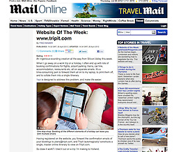 Mail Online; Kayak travel website on iPad