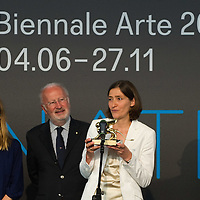 VENICE, ITALY - JUNE 04:  Aino Laberenz (L) widow of Artist Christoph Schlingensief, Giorgio Orsoni (C) Mayor of Venice and Susanne Gaensheimer (R) Commissioner German Pavillion receive the Golden Lion for Best National Participation awarded to the German Pavillion at the Official Awards  of the 54th International Art Exhibition on June 4, 2011 in Venice, Italy. This year's Biennale is the 54th edition and will run from June 4th until 27 November.