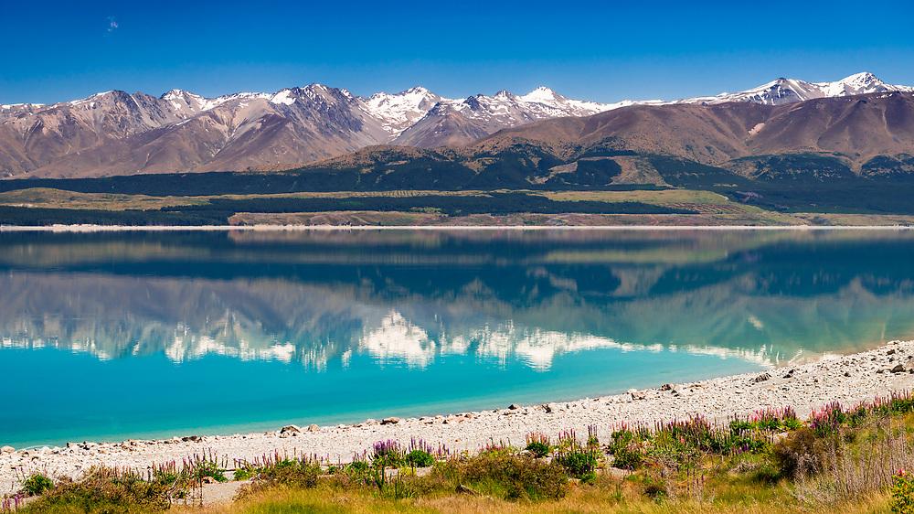 The Southern Alps from Lake Pukaki, Canterbury, South Island, New Zealand