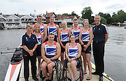 Henley, Great Britain.  Paralympic GB Team Announcement, the Paralympic Rowing Team. Back row from left, Nick BEIGHTON, David SMITH, Pamela RELPH, James ROE, Naomi RICHES, Craig HUNTER (Chef de MIssion) Front Row, from Left, Louise KINGSLEY (Coach) Lily VAN DEN BROECKE, Tom AGGAR, Sam SCOWEN,  Henley Royal Regatta. River Thames Henley Reach.  Royal Regatta. River Thames Henley Reach.  Wednesday  27/06/2012  [Mandatory Credit  Karon Phillips/ Intersport Images] . HRR.