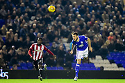 Birmingham City defender Jonathan Grounds heads the ball during the EFL Sky Bet Championship match between Birmingham City and Brentford at St Andrews, Birmingham, England on 1 November 2017. Photo by Dennis Goodwin.