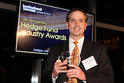 Institutional Investor magazine's 10th Anniversary Hedge Fund Industry Awards recognized the hedge funds, funds of hedge funds, investment consultants, endowments, foundations, family offices, corporate funds and public funds that stood out for their innovation, achievements and contributions to the industry in 2011. Award nominees were honored and winners announced and awarded at a dinner and ceremony at the Mandarin Oriental in New York City on Thursday, June 21, 2012.