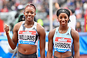 Danielle Williams (JAM) left and Kendra Harrison aka Keni Harrison (USA) after Williams won the women's 100m hurdles Final equalising the Meeting Record time of 12.46 during the Birmingham Grand Prix, Sunday, Aug 18, 2019, in Birmingham, United Kingdom. (Steve Flynn/Image of Sport via AP)