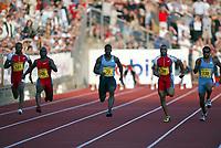 Friidrett, Athletics, IAAF Golden League, ExxonMobil Bislett Games, Arne Haukvik Memorial, 27. juni 2003.  Dwain Chambers (72), Mark Lewis-Francis (28), Ato Boldon (138), Coby Miller (106), Asafa Powell (131)
