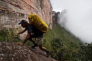 """AUYANTEPUY, VENEZUELA. Excursionista durante ascenso al tepuy. El Auyantepuy es el mayor de los tepuis del Parque Nacional Canaima. En sus 700 kms2 alberga el salto angel o conocido por lengua indígena Pemon como """"Kerepacupai Vena; es la caída de agua más grande del mundo con sus 979 metros de altura. (Ramon lepage /Orinoquiaphoto/LatinContent/Getty Images)"""