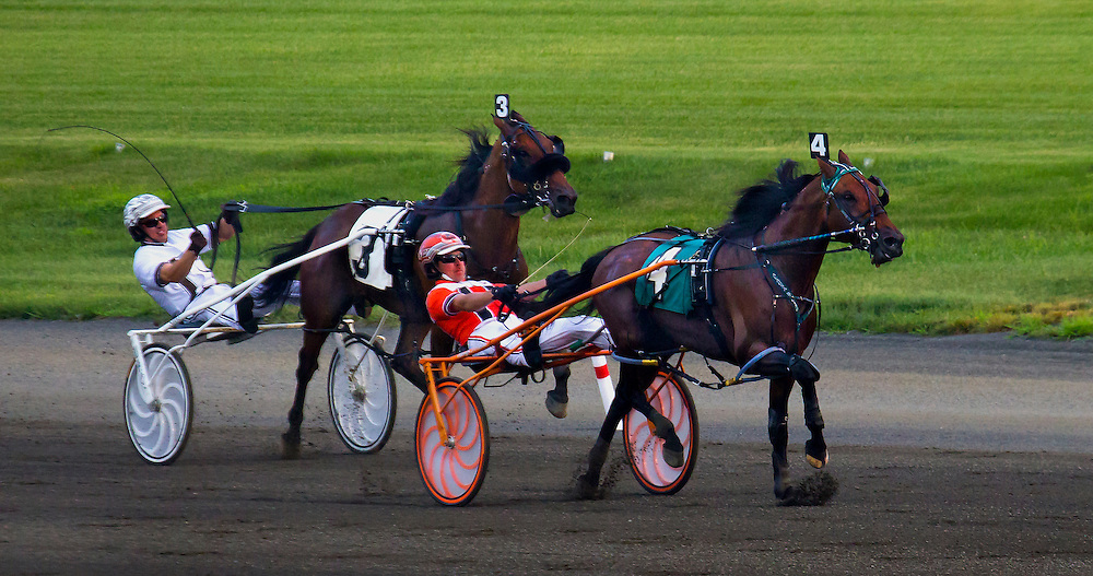 """Odds on Equuleus"" defeats ""Michael's Power"" in the first race at Meadowlands on July 18, 2015."