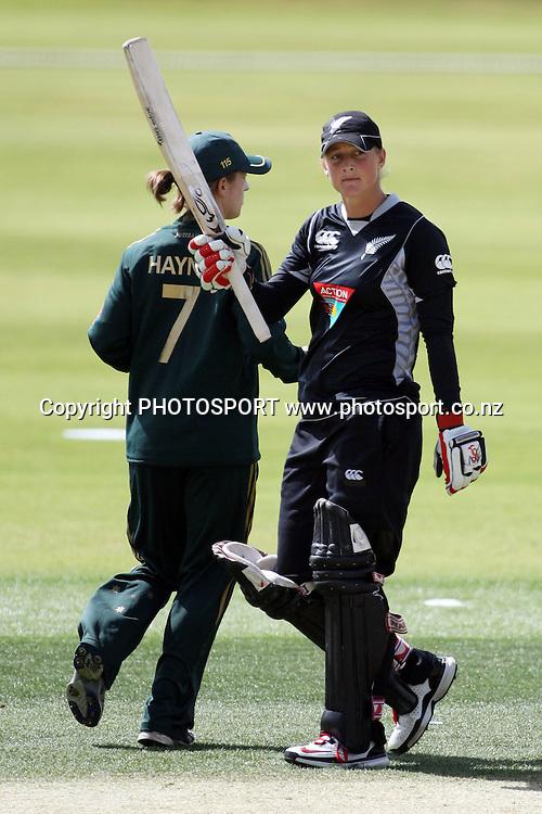 Sophie Devine celebrates 50 runs, New Zealand White Ferns v Australia, Rosebowl cricket series, One day international, Queenstown Events Centre, Queenstown. 3 March 2010. Photo: William Booth/PHOTOSPORT