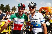 Elia Viviani (ITA - QuickStep - Floors), Matteo Trentin (ITA - Mitchelton - Scott), during the UCI World Tour, Tour of Spain (Vuelta) 2018, Stage 3, Mijas - Alhaurin de la Torre 178,2 km in Spain, on August 27th, 2018 - Photo Luca Bettini / BettiniPhoto / ProSportsImages / DPPI