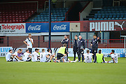 Dundee manager Paul Hartley talks to the Dundee squad on the Dens Park pitch after their defeat at the hands of Rotherham United - Dundee v Rotherham United - pre-season friendly at Dens Park <br /> <br />  - &copy; David Young - www.davidyoungphoto.co.uk - email: davidyoungphoto@gmail.com
