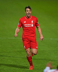 CHESTER, ENGLAND - Friday, October 23, 2015: Liverpool's Jose Enrique in action against Benfica during the Premier League International Cup match at the Deva Stadium. (Pic by David Rawcliffe/Propaganda)