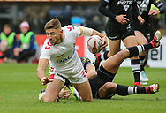 Tommy Makinson of England  tackled by New Zealand during the Autumn International Series match at the KCOM Stadium, Hull<br /> Picture by Stephen Gaunt/Focus Images Ltd +447904 833202<br /> 27/10/2018