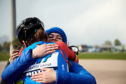 Lisa Brennauer (GER) celebrates with her team at Healthy Ageing Tour 2019 - Stage 4B, a 74.6km road race from Wolvega to Heerenveen, Netherlands on April 13, 2019. Photo by Sean Robinson/velofocus.com