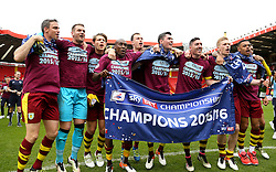 SKY BET PICTURES - FREE TO USE  Burnley Players celebrate after they Win the Sky Bet Championship - Mandatory by-line: Paul Terry/JMP - 07/05/2016 - FOOTBALL - The Valley - London, England - Charlton Athletic v Burnley - Sky Bet Championship