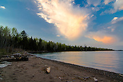 Sunset falls over the area of Daisy Farm Campground, Isle Royale National Park, Lake Superior, Michigan, US
