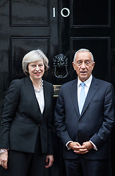 © Licensed to London News Pictures. 16/11/2016. London, UK. British Prime Minister Theresa May greets The President of Portugal, Marcelo Rebelo de Sousa in Downing Street, London. Photo credit : Tom Nicholson/LNP