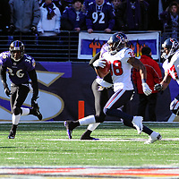 15 January 2012:  Houston Texans free safety Danieal Manning (38) returns the opening kickoff against Baltimore Ravens defensive back Danny Gorrer (36) in the Divisional Playoff at M&T Bank Stadium in Baltimore, MD. The Ravens defeated the Texans 20-13 to advance to the AFC Championship game..