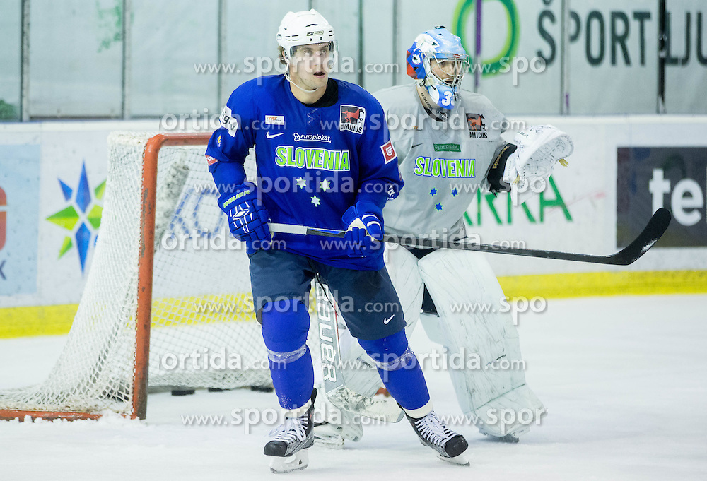 Anze Kopitar and Robert Kristan during practice session of Slovenian National Ice Hockey Team prior to the IIHF World Championship in Ostrava (CZE), on April 21, 2015 in Hala Tivoli, Ljubljana, Slovenia. Photo by Vid Ponikvar / Sportida