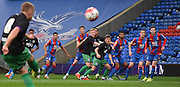 Everyone awaits the incomming City freekick during the Final Third Development League match between U21 Crystal Palace and U21 Bristol City at Selhurst Park, London, England on 3 November 2015. Photo by Michael Hulf.