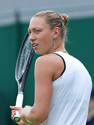 LONDON, ENGLAND - Monday, June 20, 2011: Yanina Wickmayer (BEL) in action during the Ladies' Singles 1st Round on day one of the Wimbledon Lawn Tennis Championships at the All England Lawn Tennis and Croquet Club. (Pic by David Rawcliffe/Propaganda)