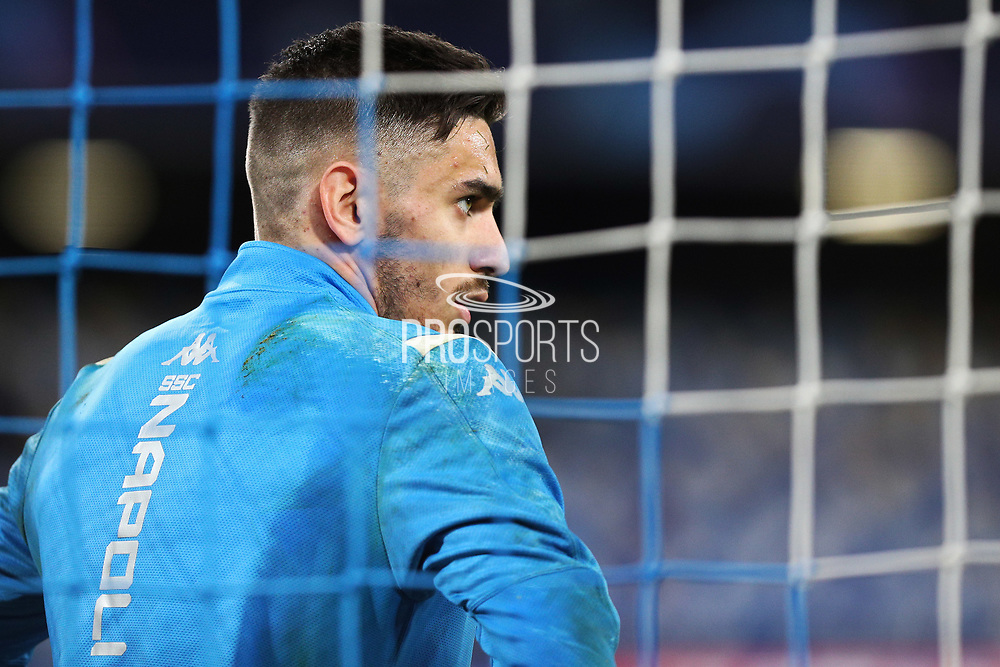 Napoli goalkeeper Alex Meret warming up before the UEFA Champions League, Group E football match between SSC Napoli and KRC Genk on December 10, 2019 at Stadio San Paolo in Naples, Italy - Photo Federico Proietti / ProSportsImages / DPPI