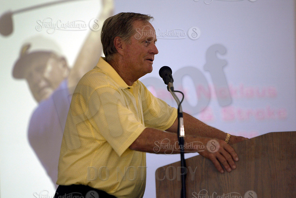 Sep 08, 2004; Aliso Viejo, CA, USA; Legendary golfer JACK NICKLAUS speaks during a Q & A @ The Jack Nicklaus Heart & Stroke Challenge Gold Tournament for participants aged 55 and older.  Held at a new golf course designed by his son at the Aliso Viejo Country Club located in Southern California.  Men & Women aged 55 and older are at an increased risk of suffering cardiovascular related deaths.  Nicklaus suffers from hypertension (high blood pressure) and is at high risk for a heart attack or stroke.  Mandatory Credit: Photo by Shelly Castellano/ZUMA Press. (©) Copyright 2004 by Shelly Castellano