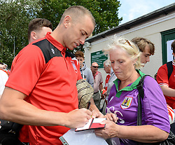 Aaron Wilbraham of Bristol City signs autographs - Photo mandatory by-line: Dougie Allward/JMP - Mobile: 07966 386802 - 05/07/2015 - SPORT - Football - Bristol - Brislington Stadium - Pre-Season Friendly
