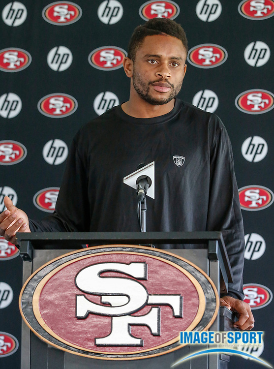July 27, 2013; Santa Clara, CA, USA; San Francisco 49ers cornerback Nnamdi Asomugha addresses the media at training camp at the 49ers training facility.