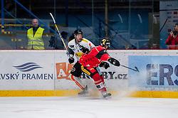 22.10.2016, Ice Rink, Znojmo, CZE, EBEL, HC Orli Znojmo vs Dornbirner Eishockey Club, 13. Runde, im Bild v.l. Nicholas Crawford (Dornbirner) Jan Seda (HC Orli Znojmo) // during the Erste Bank Icehockey League 13th round match between HC Orli Znojmo and Dornbirner Eishockey Club at the Ice Rink in Znojmo, Czech Republic on 2016/10/22. EXPA Pictures © 2016, PhotoCredit: EXPA/ Rostislav Pfeffer