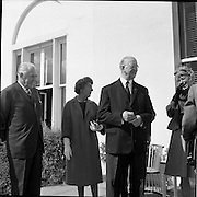 02/08/1962<br /> 08/02/1962<br /> 02 August 1962<br /> Ambassador Oil Co. representatives at Aras an Uachtarain.<br /> Picture shows Mr F. Kirk Johnston, (left) Chairman of Ambassador Oil Corporation and President of Ambassador Irish Oil Co. chats with President Eamon de Valera.