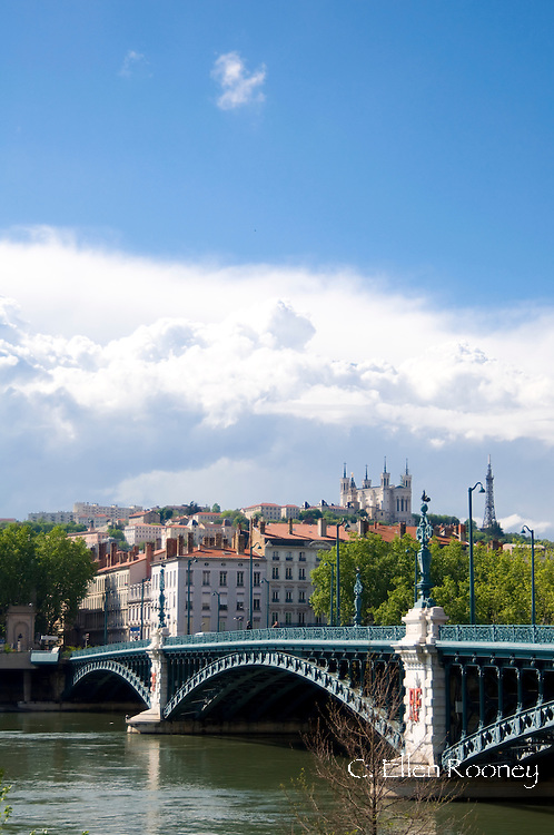 The Pont de l'Universite and the Lyon skyline;  Lyon, France