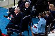 Donald Trump  Mike Pence and Melania Trump before  Trump takes the oath of office for the presidency of the United States on January 20,2017<br /> <br /> Photo by Dennis Brack
