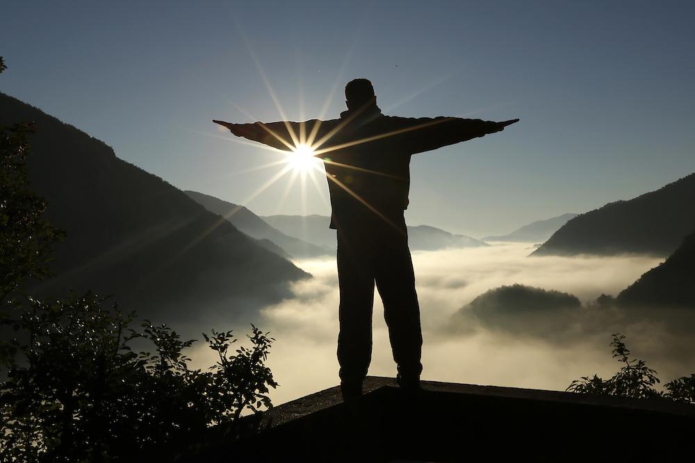 Morning mist over the Tara river canyon, Montenegro.