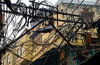 NEW DELHI, INDIA - CIRCA OCTOBER 2016: Maze of cables on the streets of Old Delhi.