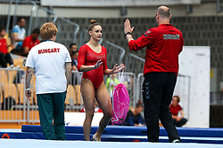Sara Peter of Hungary with coach at Floor Exercise during Qualifications of Artistic Gymnastics FIG World Challenge Koper 2018, on June 1, 2017 in Arena Bonifika, Koper, Slovenia. Photo by Matic Klansek Velej/ Sportida