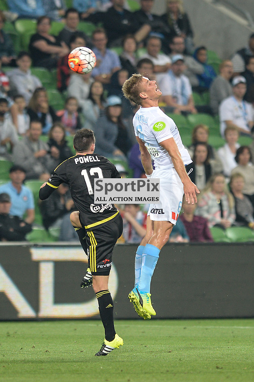 Blake Powell of Wellington Phoenix, Erik Paartalu of Melbourne City, Hyundai A-League, January 25th 2016, RD16 match between Melbourne City FC v Wellington Phoenix FC in a 3:01 win to City  at Aami Park,  Melbourne, Australia. © Mark Avellino | SportPix.org.uk