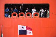 Centro de Visitantes de Miraflores, Canal de Panama.<br /> Banderas por celebraci&oacute;n de fechas patrias.