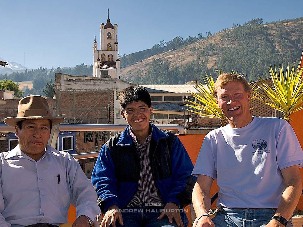 Bernado, Mauro and Brad Johnson at Olaza's Bed & Breakfast, Huaráz - 28 June 2008.