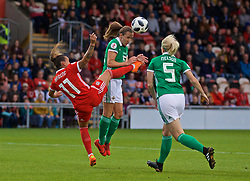NEWPORT, WALES - Tuesday, September 3, 2019: Wales' Natasha Harding (L) challenges Northern Ireland's substitute Kerry Montgomery during the UEFA Women Euro 2021 Qualifying Group C match between Wales and Northern Ireland at Rodney Parade. (Pic by David Rawcliffe/Propaganda)