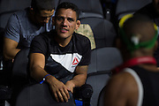 LAS VEGAS, NV - JULY 6:  Rafael dos Anjos visits with Gilbert Burns during the UFC Fight Night weigh-ins at T-Mobile Arena on July 6, 2016 in Las Vegas, Nevada. (Photo by Cooper Neill/Zuffa LLC/Zuffa LLC via Getty Images) *** Local Caption *** Rafael dos Anjos