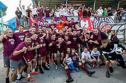Players of Triglav celebrate after winning during 2nd Leg football match between NK Triglav Kranj and NS Drava Ptuj in Qualifications of Prva Liga Telekom Slovenije 2018/19, on June 6, 2018 in Kranj, Slovenia. Photo by Vid Ponikvar / Sportida