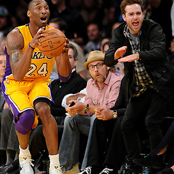Los Angeles Lakers' Kobe Bryant (24) looks at an official after loosing the ball out of bounds in the fourth quarter against the New Orleans Hornets during game two of a NBA Western Conference First Round playoff basketball game in Los Angeles, on Wednesday, April 20, 2011. Lakers won the game 87-78. (SGVN/Staff Photo by Keith Birmingham/SPORTS)