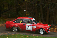 #21 Ian Hucklebridge / Gary Johnson Ford Escort Mk2 Bolton-le-Moors SMA Stoke Mandeville Autocentreduring Neil Howard Memorial Stage Rally, and opening round of the 2015 Motorsport News Rally Championship.  at Oulton Park, Little Budworth, Cheshire, United Kingdom. November 07 2015. World Copyright Peter Taylor. Copy of publication required for printed pictures.  Every used picture is fee-liable. http://archive.petertaylor-photographic.co.uk