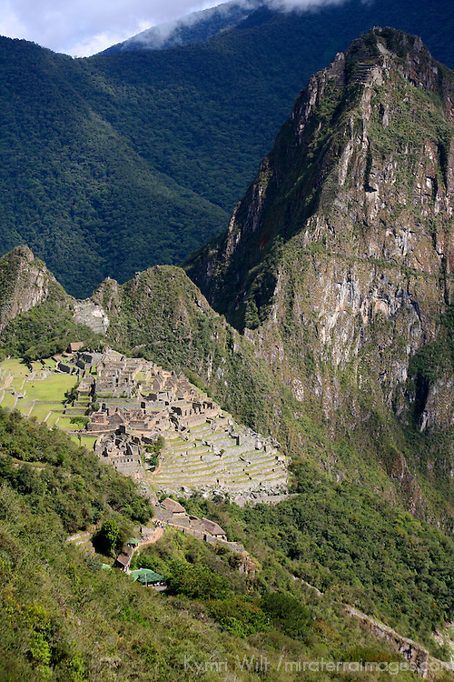 South America, Peru, Machu Picchu. View of the citadel from the Inca Trail.