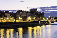 France.Paris. 4th district Ile de la cite and the seine river at dusk