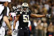 NEW ORLEANS, LA - NOVEMBER 11:  Jonathan Vilma #51 of the New Orleans Saints points out something to a official during a game against the Atlanta Falcons at Mercedes-Benz Superdome on November 11, 2012 in New Orleans, Louisiana.  The Saints defeated the Falcons 31-27.  (Photo by Wesley Hitt/Getty Images) *** Local Caption *** Jonathan Vilma