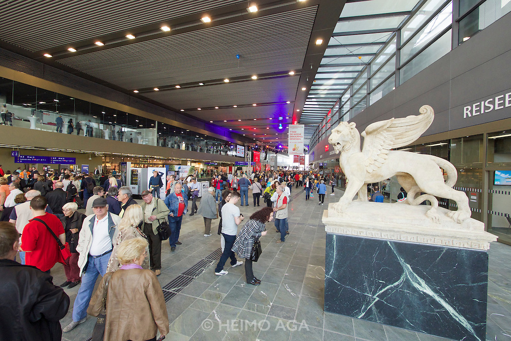 Vienna's new Hauptbahnhof (Main Railway Station) opening days. Markuslöwe (St. Mark's Lion) representing Venice, one of the destinations reachable by rail from here.