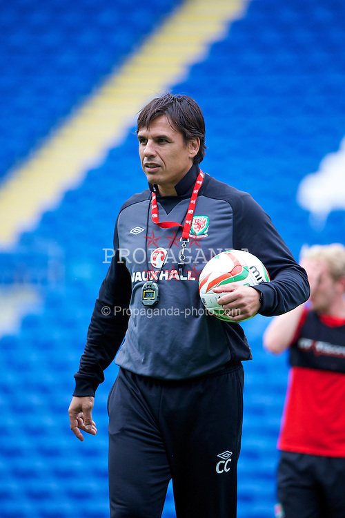 CARDIFF, WALES - Tuesday, August 13, 2013: Wales' manager Chris Coleman during a training session at the Cardiff City Stadium ahead of the International Friendly match against the Republic of Ireland. (Pic by David Rawcliffe/Propaganda)
