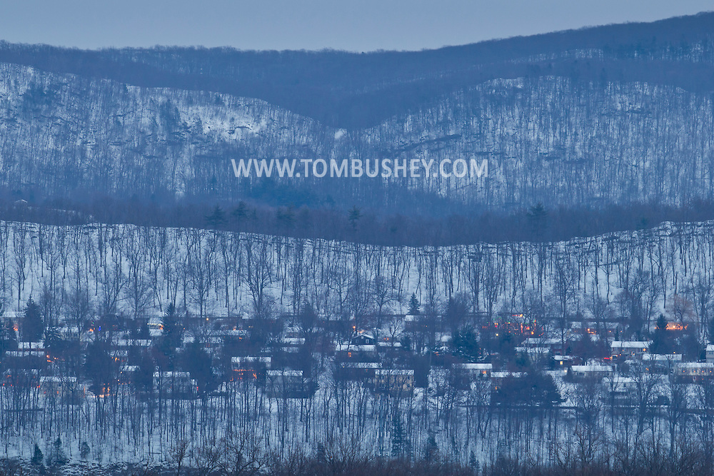 Highland Mills, New York - A view of homes on Skyline Drive on a winter afternoon.