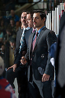 KELOWNA, CANADA - NOVEMBER 20: Travis Crickard, assistant coach of the Kelowna Rockets stands on the bench against the Edmonton Oil Kings on November 20, 2015 at Prospera Place in Kelowna, British Columbia, Canada.  (Photo by Marissa Baecker/ShoottheBreeze)  *** Local Caption *** Travis Crickard;